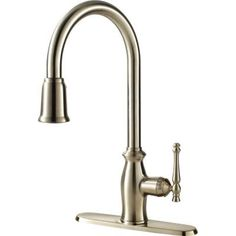 Ultra Faucets Traditional Collection Single-Handle Pull-Down Sprayer Kitchen Faucet in Stainless Steel