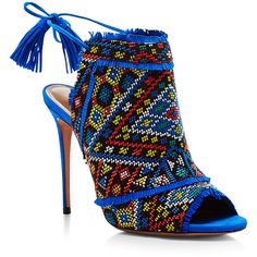 Aquazzura Colorado Beaded Mules ($850) ❤ liked on Polyvore featuring shoes, beaded shoes, sexy high heel mules, high-heel mules, geometric shoes and suede mules