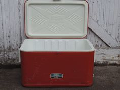 Mid Century Thermos Cooler Vintage Red Thermos by used2bnewVintage