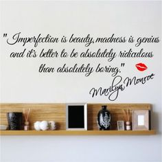 Imperfection Is Beauty Marilyn Monroe Wall Sticker Quote Decal Art Deco Vinyl | eBay