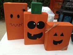 Halloween blocks by BoDashes on Etsy, $12.00...Can make your own with kids for a Halloween party activity
