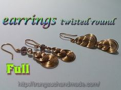 758d379aaa4faa earrings twisted round like coins - handmade copper wire jewelry - full  version ( slow ) 310