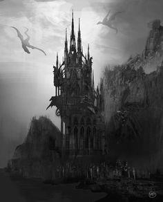 Gothic castle by MarinaOrtega on DeviantArt - Trend Femininer Stil 2019 Gothic Castle, Dark Castle, Fantasy Castle, Dark Fantasy Art, Foto Fantasy, Gothic Aesthetic, Slytherin Aesthetic, Dark Gothic, Fantasy Places