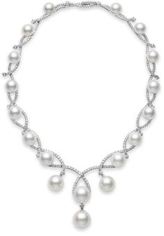 White South Sea Pearl Necklace, Aria necklace, Mikimoto, 11-16mm White South Sea cultured pearl necklace and 12.61cts of diamonds, set in 18k white gold.
