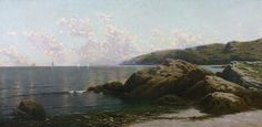 Alfred Thompson Bricher - Coastal Landscape offered by Avery Galleries on InCollect Hudson River School Paintings, More Images, Natural World, American Art, Oil On Canvas, Coastal, Ocean, Clouds, Sky