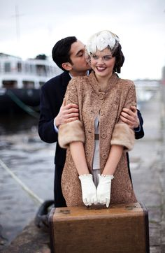 vintage style Sail Away With Me ~ A Inspired Wedding Inspiration Shoot with lace coat and short gloves 1930s Wedding, Great Gatsby Wedding, Wedding Blog, Wedding Styles, Dream Wedding, Gatsby Party, Wedding Vintage, Wedding Pics, Wedding Shoot
