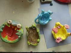 Color, collage, and much more: Funny Pinch Pot Characters