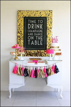 Love everything about this - perfection! #desserttable #dessertbar #cake #champagne #party #sweets #decorations #holiday #wedding #birthday #tassles #garland #neon #metallic #partyideas #ideas #inspiration #obsessed