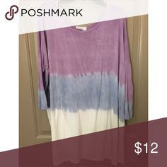 Tie-Dye Purple/Blue/White Tunic! Super flattering and comfy Piko-esque tunic - fits like a Piko, but a local boutique brand. Long enough to be worn as a top or dress with tights/leggings. Size Medium. DressUp Tops