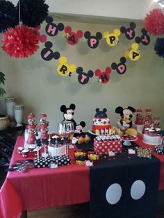Red and black Mickey Mouse birthday party! See more party planning ideas at CatchMyParty.com!