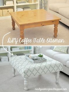 What to do with an ugly coffee table!  How many of us these kind of things laying around the house - well, now we know what to do. Buy, Annie Sloan paint, a couple pieces of thick foam (fabric store) and some upholstery grade fabric. Paint legs, cut several pieces of foam to size, glue together, glue to table top, cover with fabric, fold fabric over bottom of table and staple in place. Viola!!!!!!