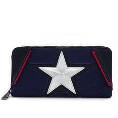 Loungefly x Marvel Captain America Cosplay Wallet ($38) ❤ liked on Polyvore featuring bags, wallets, faux-leather bags, blue wallet, vegan wallet, loungefly and vegan bags