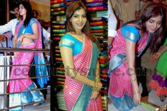 Exclusive Collection of Indian Celebrity Sarees and Designer Blouses Bridal Silk Saree, Silk Sarees, Traditional Silk Saree, Saree Blouse Patterns, Indian Celebrities, Exclusive Collection, Saree Collection, Pink Stripes, Blouse Designs