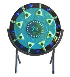 Fused Glass Art Showpiece with Stand Teal Spiral Circle Abstract Dichroic Sculpture Disc Design Impressive Corporate Gift DawnofCreation by DawnofCreationGlass on Etsy https://www.etsy.com/listing/249025252/fused-glass-art-showpiece-with-stand