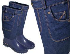 Des bottes de pluie façon blue jeans photo