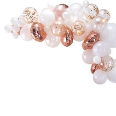 Rose Gold Balloon Arch Kit - 70 Balloons This rose gold balloon garland arch kit will be the focal point of a baby shower, Miss to Mrs bridal shower, princess party, a tea party theme! Round Balloons, Gold Confetti Balloons, White Balloons, Latex Balloons, Hen Party Decorations, Engagement Party Decorations, Birthday Decorations, Balloon Arch, Balloon Garland