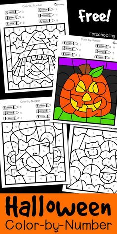 halloween activities FREE Halloween coloring worksheets to practice numbers, fine motor skills and color words. Great for a fun preschool or kindergarten Halloween activity where kids can color witches, pumpkins, Frankenstein and bats! Halloween Color By Number, Theme Halloween, Halloween Tags, Halloween Coloring, Classroom Halloween Party, Halloween Witches, Vintage Halloween, Halloween Pumpkins, Halloween Worksheets