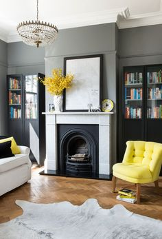 Bookroom in Plummett by Farrow and Ball. Fab yellow chair from Oliver Bonas. Bookroom in Plummett by Farrow and Ball. Fab yellow chair from Oliver Bonas. Living Room Grey, Home Living Room, Living Room Decor, Living Spaces, Farrow And Ball Living Room, Cozy Living, Decorating Living Room Ideas, Living Room Designs, Decorating Websites