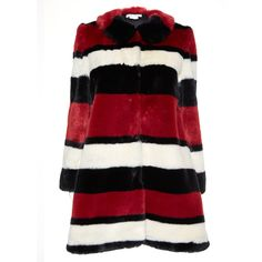 Alice + Olivia Kinsley Faux Fur Coat (2.885 RON) ❤ liked on Polyvore featuring outerwear, coats, imitation fur coats, red faux fur coat, oversized coat, red coat and fake fur coats