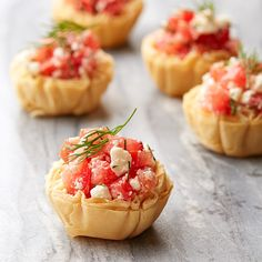 Weight Watchers Crispy Tomato and Feta Phyllo Tartlets - These tiny tarts combine sweet tomatoes, rich feta and fresh dill. They're as tasty as bruschetta, but the bite-size phyllo shells make them easier to eat.