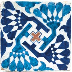A MULTAN POTTERY TILE, PAKISTAN, LATE 15TH CENTURY of square form, decorated in cobalt blue and turquoise with an abstract helicoid design around a central red cross 20.4 by 20.4cm.