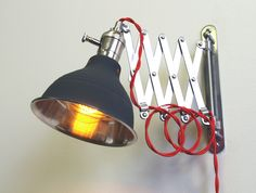 Industrial Scissor Extention Wall Lamp Light With Fully Dimmable Light Socket - via Etsy.