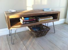 Industrial wood & steel TV/media stand or coffee table, reclaimed barnwood with hairpin legs.
