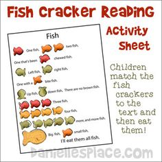 Fish Cracker Reading Activity Sheet from www.daniellesplace.com