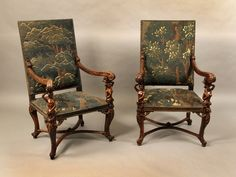 Carved Wood Armchairs. Each chair with carved figures of a man or a woman supporting an arm. Ca1875 France.