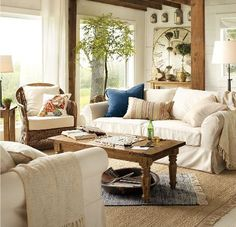 Update your country decorating look with a more modern color scheme. Pick one color, then try combining it with white or neutrals for a stylish look that isn't dated, and doesn't cause confusion for the eye.  pottery-barn