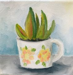 "Happy Wednesday! I decided to combine two of my most favorite things into a  painting--coffee (cups) AND succulents. I absolutely adore this painting. I  don't have a lot of in progress photos because this painting just happened  so quickly. I didn't even sketch it out first. I just...painted. And it  happened.  The canvas is 6""x6"" and 1 1/2"" deep. It was a beautiful little canvas that  I picked up on clearance from Blicks.  I love it. Because of this little painting, I was inspired to…"