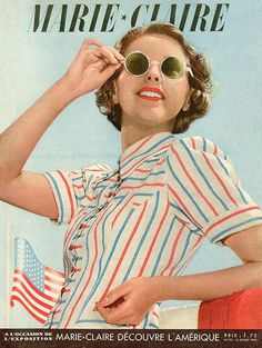 1939--love the blouse 30s 40s day sportswear casual white pinstripe shirt blue red sunglasses hair model magazine photo print ad
