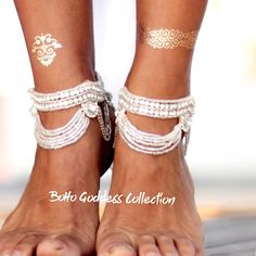"Boho, Gypsy and Crystal Beach Foot Jewelry | Barefoot Sandals at Body Kandy Couture . Enchanting Boho Beach Foot Jewelry. The Devi Barefoot Sandals are Beaded with Pearls That dangle on Ankle Chains that can be Adjusted for the Perfect Fit. These Barefoot Wedding Sandals will add Elegant and look Magnificent for a Weddings on the Beach and you will look like a true Goddess. Barefoot sandals are an ancient traditional, known as ""Payal"" worn by Indian Brides on their Wedding Day"