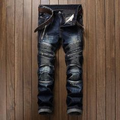 cheap for discount 76e38 af07d Men s Pleated Jeans Slim Fit