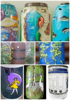 21 Ways To Beautify Your Rain Catchment Barrels | Catch rain in a work of art.