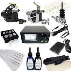 http://stansmarketing.com/tattoo-starter-kit-0-tattoo-supply-machine-needles-ink-grips-tips/ (2) Tattoo Machines (1) Power Supply (1-15 Volt & 1.5amp) (1) Foot Pedal (1) Clip Cord (2) Tattoo Ink (10) Tattoo Needles (2) Tattoo Grips (2) Tattoo Tail Ends (2) Grips Replacement Allen Screws (2) Grip Tail Ends (10) Disposable Tips (2) Rubber Bands (2) O-Rings (2) Rubber Nipples (2) Allen Keys for Machines & Grips (20) Tattoo Ink Cups (1) Ink Cup Holde...