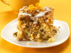 Mmm! Warm coffee cake with a sweet drizzled glaze. Apples, carrots and pineapple make glorious additions to an easy muffin mix recipe.