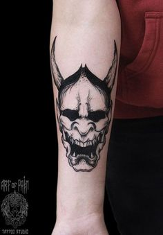 Demon tattoo on forearm oriental by Elizaveta Ostanina Creepy Tattoos, Badass Tattoos, Body Art Tattoos, Sleeve Tattoos, Cool Tattoos, Tattoo Arm, Hannya Mask Tattoo, Hanya Tattoo, Black Tattoos