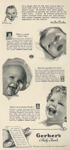 Baby. 1941 Gerber's Baby Food advertisement