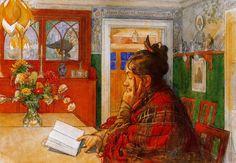 Carl Larsson >> Karin reading  |  (acuarela, obra de arte, reproducción, copia, pintura).