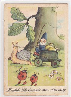 AK Künstlerkarte: Ernst Fay Schneckenpost und Zwerg Marienkäfer Namenstag   eBay snail mail