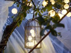 Ikea garden decoration with cotton ball lights