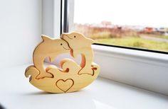 VERKAUF!!! Puzzle - Holzpuzzle Delphin Fisch - Bildungs-Spielzeug - Wooden Swing - Kids Geschenke - Tier Puzzle - Delphin Zierfisch Familie