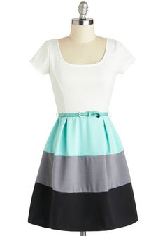Something to Celebrate Dress - Colorblocking, Short, Blue, Black, Grey, White, Belted, Casual, Fit & Flare, Short Sleeves, Scoop, Spring