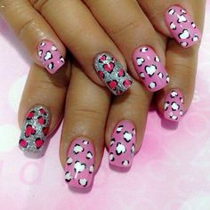 Bright summer nails, Cheerful nails, Children nails ideas, Funny nails, Heart nail designs, Hearts on nails, Long nails, Manicure on the day of lovers
