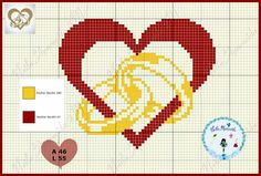 Me and my partner are getting married today and for you I have some really cute heart rings to embroider. Wedding Cross Stitch Patterns, Cross Patterns, Counted Cross Stitch Patterns, Hama Beads Disney, Dimensions Cross Stitch, Graph Paper Art, Beaded Cross, Cross Stitch Heart, Tapestry Crochet