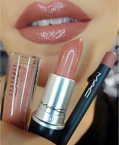 Amazing color Mac shiny by @makeupbyesra #makeup #lip #nudelip Open presence lipstick + Boldy bare lip pencil + Holiday Miracle lipglass
