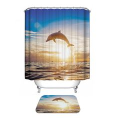 Custom Fabric Waterproof Bathroom Shower Curtain (Dolphin)