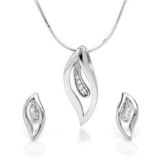 925 Sterling Silver CZ Cubic Zirconia Leaf Set - Earrings and 18 inch Necklace -- Continue to the product at the image link.