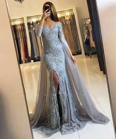 On Sale Luscious Prom Dresses Lace Mermaid Silver Prom Dress Lace Long Sleeve Prom Dress Elegant Party Dresses, Prom Dresses 2018, Prom Party Dresses, Formal Dresses, Party Gowns, Gowns 2017, Bridesmaid Dresses, Bling Prom Dresses, Court Dresses